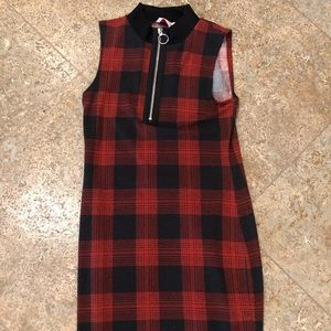 Mini plaid zip dress